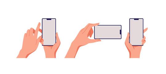 Fototapeta Female hand holding smartphone, empty screen, phone mockup, application on touch screen device. Vector illustration. obraz