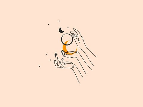Hand drawn vector abstract stock flat graphic illustration with logo elements ,woman fashion magic line art hands touch moonand stars in simple style for branding ,isolated on color background