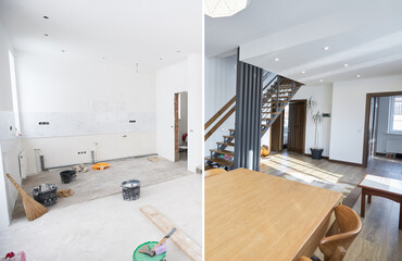 Obraz Home renovation concept. Before and after interior in modern style - fototapety do salonu