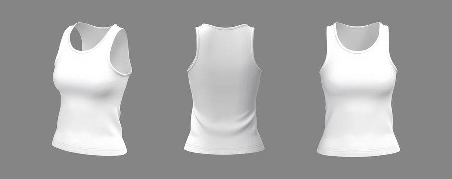 Blank sleeveless t-shirt mockup in front, side and back views, design presentation for print, 3d illustration, 3d rendering