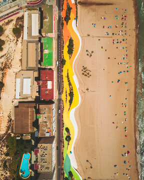 Aerial view of Benidorm's colourful beach pattern in Spain