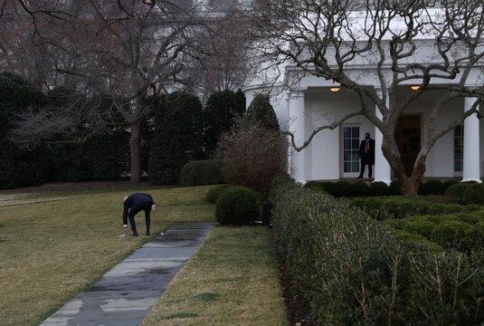 U.S. President Joe Biden arrives at the White House from travel, in Washington