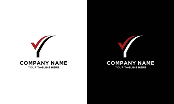 Vector letter VY or Check mark logo template. Material design, flat, line-art styles. Company symbol or app icon