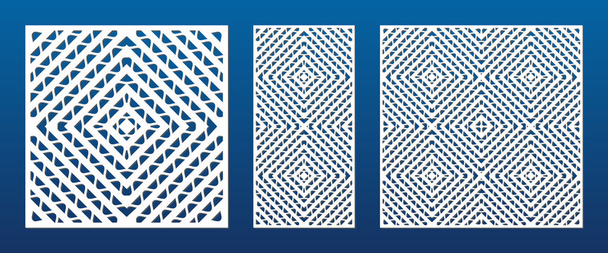 Decorative panels for laser cutting. Cutout silhouette with abstract geometric pattern, wavy lines, concentric grid, lattice, mesh. Laser cut stencil for wood, metal, plastic. Aspect ratio 1:2, 1:1
