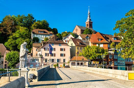 Bridge of Laufen across the Rhine River in Laufenburg, Switzerland and Germany