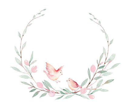 Spring bird on blooming branch with green leaves and flowers wreath. Watercolor wedding invitation card blossom painting. Hand drawn pink wreath design. Cherry isolated branch decoration.