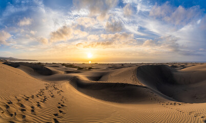 Wall Mural - Landscape with golden sand dunes of Maspalomas at sunrise, Gran Canaria, Canary Islands, Spain