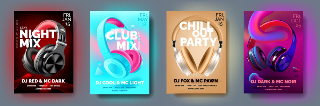 Set of Club posters with headphones, dance party, fluid design flyer, invitation, banner template, dj music event, colorful White, black, blue and pearl headphones, vector illustration