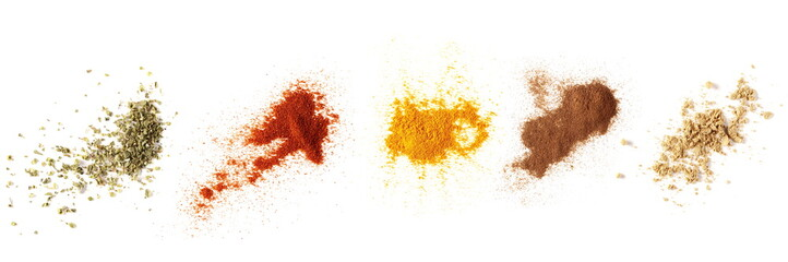 Set spices pile, oregano, red paprika powder, turmeric, cinnamon, ginger, isolated on white background, top view texture