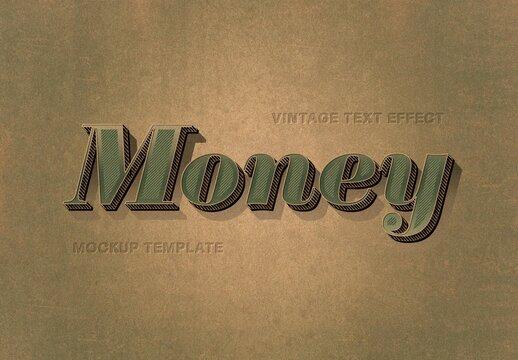 Vintage 3D Text Effect Mockup