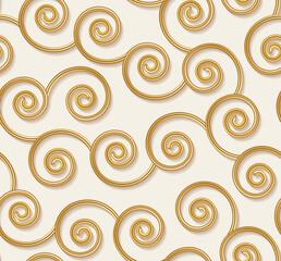 Modèle sans couture bouclé, lignes ondulées d& 39 or 3d. Illustration vectorielle. Fond élégant de luxe boucle jaune. Toile de fond de texture dorée tourbillon de mode.