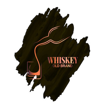 whiskey glass and bottle watercolor logo on white
