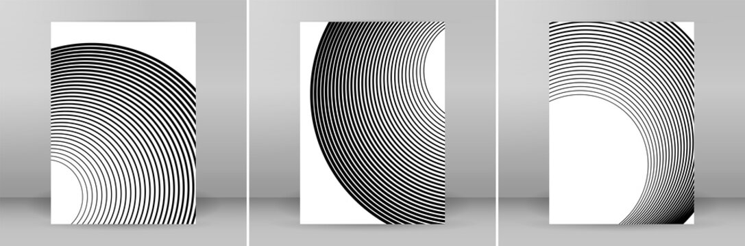 Set Design elements. Curved many streak. Abstract Circular logo element on white background isolated. Creative band art. Vector illustration EPS 10. digital for promotion new product - Vector