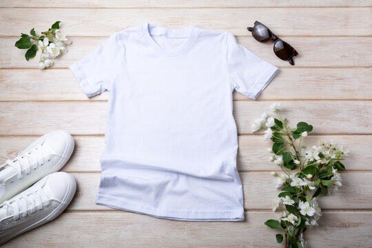 Womens T-shirt mockup with apple blossom
