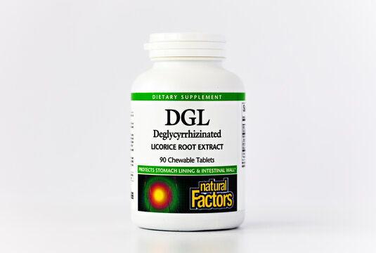 close-up of DGL (licorice root extract) jar. dietary concept. dietary supplement topview