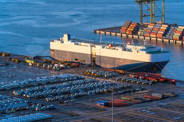 Fototapeta Ro-Ro Ship / car carrier ship anchored at the terminal. obraz