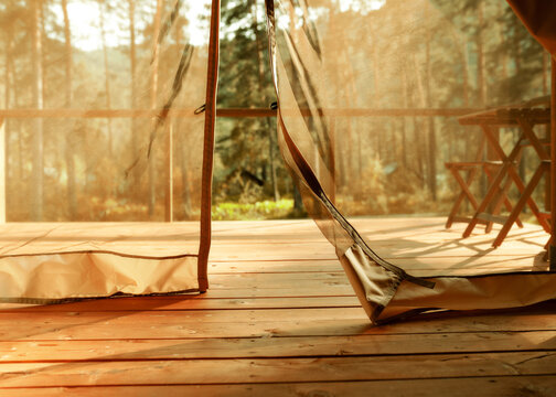 Open glamping tent curtains background