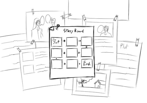 Simple sketch and steps the process of idea to the storyboard and into the movie