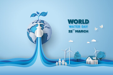 concept of ecology and world water day . - fototapety na wymiar