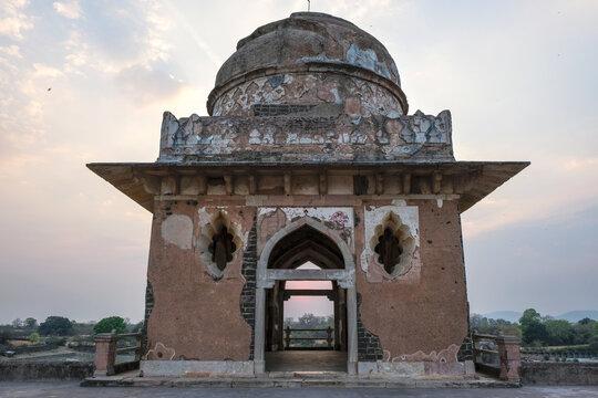Jahaz Mahal is the most famous building in Mandu was built between two pools of water. Mandu, Madhya Pradesh, India.