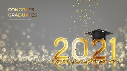 Fototapeta Banner for design of graduation 2021. Golden numbers with graduation cap and confetti on background with effect bokeh. Congratulations graduates 2021. Vector illustration for degree ceremony design. obraz