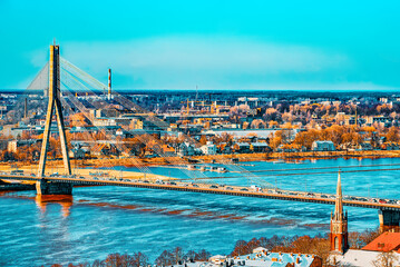 Mound Bridge (Vantage Bridge) across Western Dvina River in Riga.
