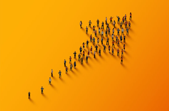 Large group of people in the shape of an arrow. Business concept.