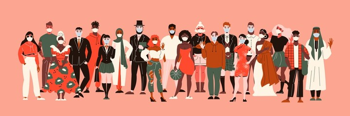 Fototapeta Nationalities In Masks Composition obraz