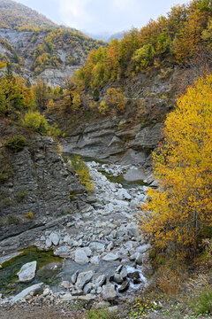 Mountain landscape with part of Haliacmon river on Mount Grammos in northern Greece during autumn