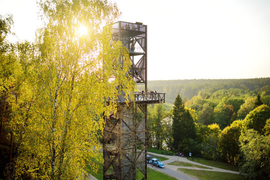Laju takas, tree-canopy trail complex with a walkway, an information center and observation tower, Anyksciai, Lithuania