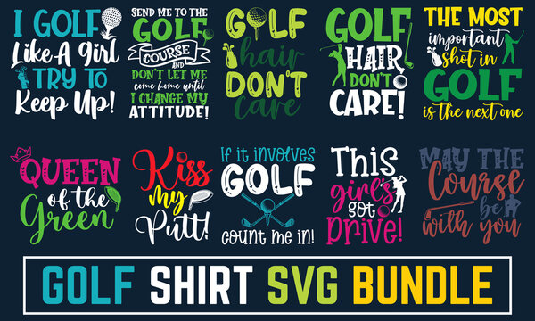 Calligraphy style quote, Set of Golf club concept with golfer silhouette, Concept for shirt, print, Typography design