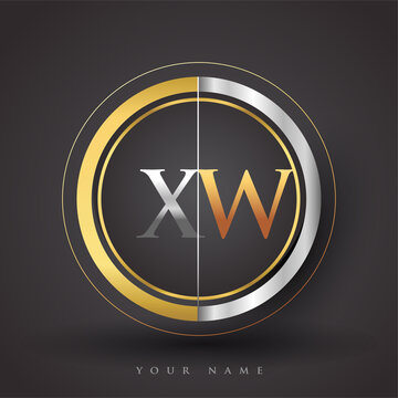 XW Letter logo in a circle, gold and silver colored. Vector design template elements for your business or company identity.