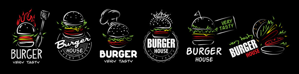 Hand drawn set of vector burger logos on black background