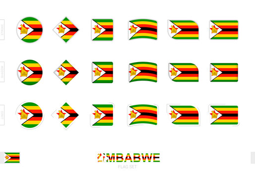 Zimbabwe flag set, simple flags of Zimbabwe with three different effects.