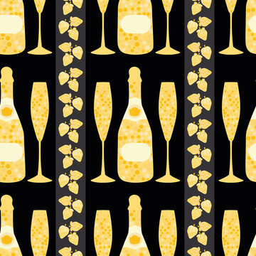 Champagne and strawberry vector seamless pattern background. Elegant gold black backdrop with fizz, champagne flutes,bottles, vertical stripes of fruit. Modern chic repeat for party, birthday, wedding