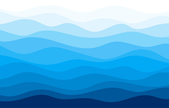 Blue water wave sea line pattern background vector.
