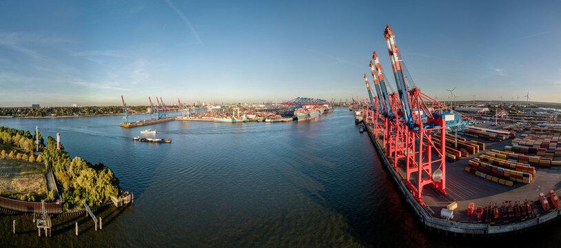 Large Panorama Of The Port Of Hamburg At Sunset