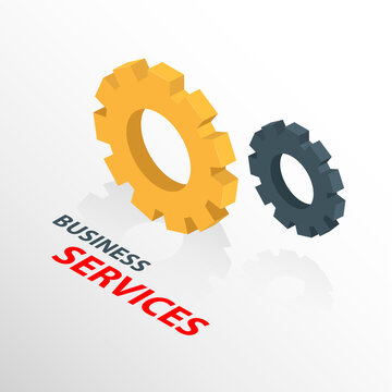 Isometric business service icon isolated on a white background.