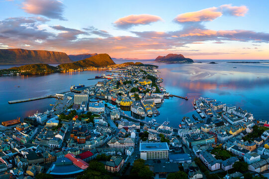 Aerial view of Alesund, Norway at sunset. Colorful sky over famous touristic destination