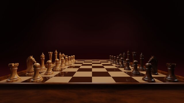 3d rendered image of wooden chess set on dark red, crimson background. Chess board and chess pieces with perspective.