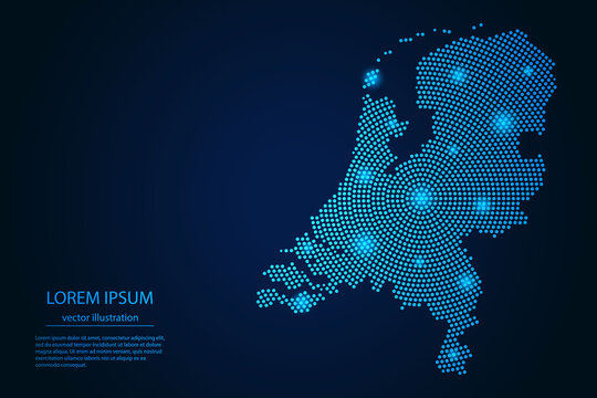 Abstract image Netherlands map from point blue and glowing stars on a dark background. vector illustration.