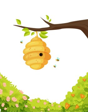 Beehive on branch with swirling bees illustration. Yellow cocoon covered with sweet honey surrounded by flowering trees and flying striped vector insects.