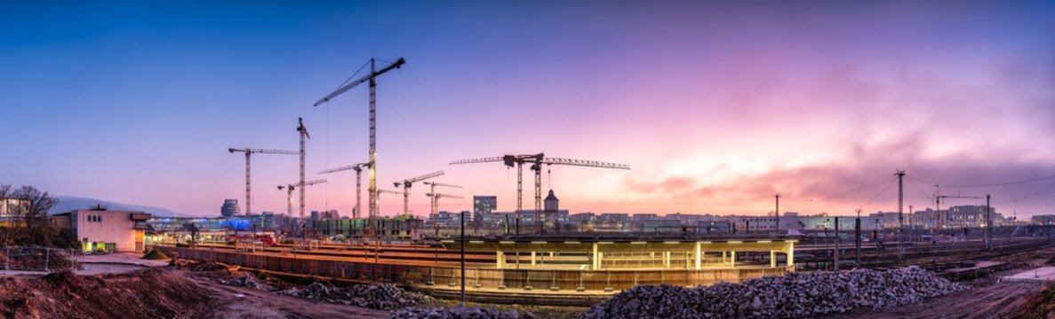 Construction site panorama at sunset