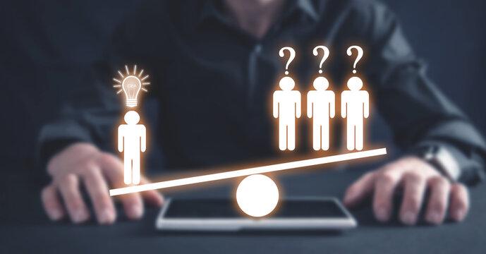 Human figures on balance scale. People. Idea