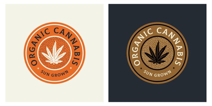 Organic sun grown cannabis badge logo retro vintage sticker