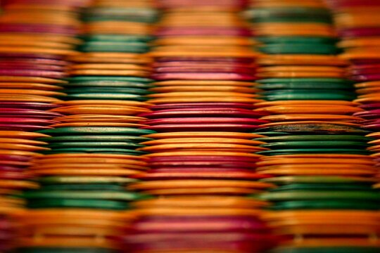 Full Frame Shot Of Colorful Bamboo Mattress