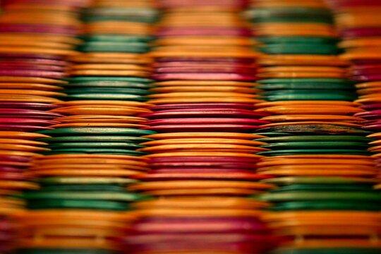Full Frame Shot Of Colorful Bamboo Mattress