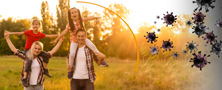 Strong immunity - healthy family. Happy parents with children protected from viruses and bacteria, illustration
