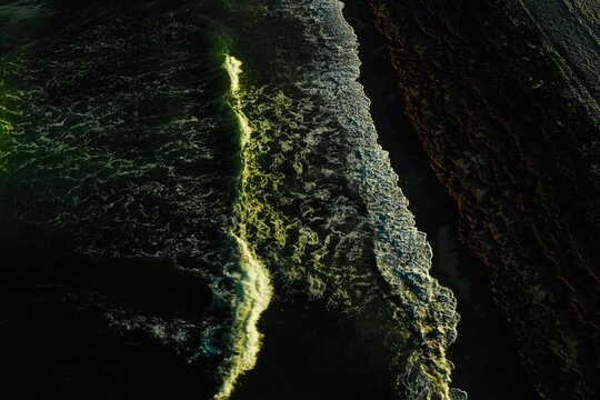 Aerial Drone Shot Of Land And Sea