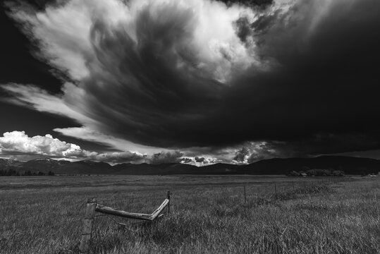Storm clouds over a grassy field.